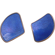 Ivar T. Holth Norway Blue Enameled  Sterling Silver Clip On Earrings hallmarked