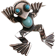 Vintage Native American Sterling Silver & Turquoise Frog Brooch with big personality!