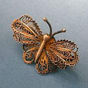 Antique Filagree Butterfly Brooch 800 Silver Vermeil