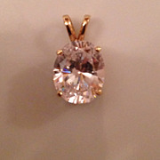 Russian CZ and 14K Gold Pendant