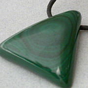 Modernist malachite pendant on cord