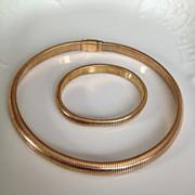 Vintage gold filled snake chain set - necklace and bracelet