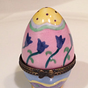 Enameled Egg Shaped Trinket Box
