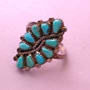"""Zuni, Petit Point Native American hallmarked Ring signed """"RH"""" sterling silver and tu"""