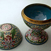 Antique Japanese Cloisonne Footed Covered Box