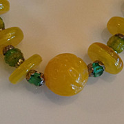 Vintage Czechoslovakian Carved Yellow Glass Beaded Necklace