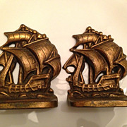 Vintage Brass Sail Ship Bookends