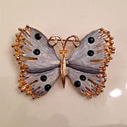 Vintage  Blue Butterfly Brooch Hallmarked
