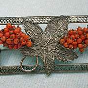 Antique Chinese Filagree Coral  Brooch Hallmarked