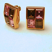 Swarovski Purple Crystal Clip on Earrings