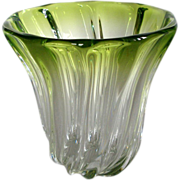 French Vase Val St. Lambert Crystal and Green Sculptural Vase Signed Large