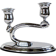 Rhodium J H Peckham Candle Holder Art Deco Cantilever 2 Light Candelabra BAKELITE Base  RHODIU