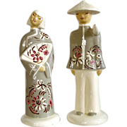 Vintage Hedi Schoop Pair Chinese Oriental Figurines Grey Green and White California Art Potter