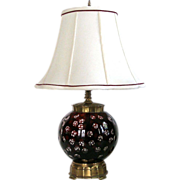 Lamp Cut Ruby Glass and Brass Deep Ruby Burgundy Cut to Clear Glass and Solid ...