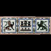 3 Tiles Ramos Rejano Pottery Antique Renaissance Revival Copper Metal Frame Lions and Castle