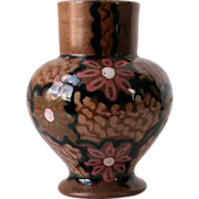 1920s Carl Gebauer Germany Art Pottery Floral  Art Nouveau Vase 8in Tall  Brown Floral Majolic