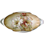 Vtg RS Germany DISH Unusual Scalloped Rolled Edge Two Handled Dish Hand Painted Soft Creamy ..