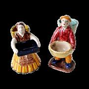 2 Early DERUTA Merchant Figurines Majolica Art Pottery Italy Man Woman Original Label RARE VER