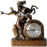 SOLD RESERVED FOR RANDY.....1940's Cowboy on Rearing Horse Sessions Mantel Clock Bronzed Metal