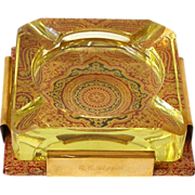 STUNNING 1950s Ashtray Heavy Yellow Glass in Holder of Brass and Embossed Leather in Ruby ...