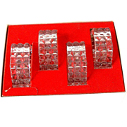 4 Crystal Napkin Rings Hexagons Diamond Pattern Vintage
