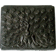 Embossed Japanese Metal Box Peacock Flower Detailed Repousse Rectangular Small Dark Bronze ...
