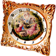 Sessions Porcelain Picture Frame Clock Rococo Style Gilt w Painted Neo Classical Allegorical .