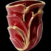 Vintage Planter Wall Pocket Burgundy and Gold High Gloss Ceramic Organic Design Porcelain