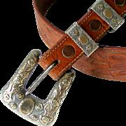 SOLD Sterling w Gold Overlay Western Ranger Buckle 2 Slides Loops Embossed on Tooled Vintage T