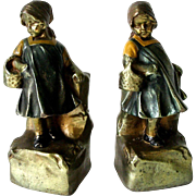 1920s Young Girl Armor Polychrome Bronze Farmerette Bookends
