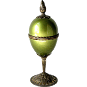 1950s Evans Egg Shaped Pedestal Table Lighter Green Guilloche Enamel and Bronze Tone Metal ...
