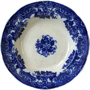 Antique Gustavsberg Sweden Flow Blue 10in Bowl Round Scalloped Gustafsberg Floral Center Low .