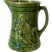 1926 McCoy Buccaneer Pirate 8in Pitcher Green Glaze Excellent Condition