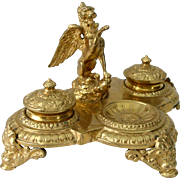 Large Ornate Maitland Smith Gilded Brass Inkwell with Griffin and Gargoyles Baroque Style ...