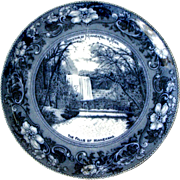 Souvenir Flow Blue Plate The Falls of Minnehaha Minneapolis Minnesota Made in England Wheelock