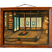 Vintage Japanese Room Wooden 3D Shadow Box Diorama House Scene 16 x 13