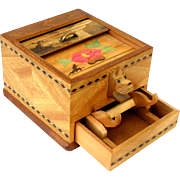 Vintage Japan Inlaid Wood Roll Top Cigarette Pop Up Dispenser Box Scottie Dog Mechanical