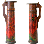 Large 16in Antique 1913 Covered Wood Stein Tankard Red Colored Poinsettia Design Flemish Art .
