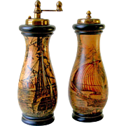 Old Florentine Ceramic Salt Shaker and Pepper Grinder Mill with Scene of Antique Italian Ships