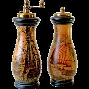 Old Florentine Ceramic Salt Shaker and Pepper Grinder Mill with Scene of Antique Italian Ships