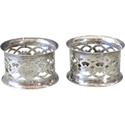Pair Antique Sterling Napkin Rings 1907 M & J Chester England Pierced Reticulated Edwardian