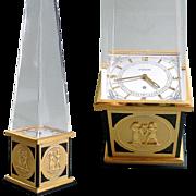 1960s Jaeger LeCoultre Obelisk Clock 8 Day Egyptian Revival Mid Century