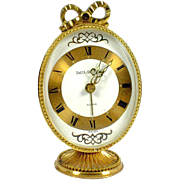 "Bow Topped SWIZA Sheffield Brass Alarm CLOCK Swiss Made 3.5"" Oval on Stand"