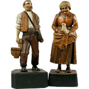 2 European WOOD CARVINGS Farm Couple MAN with Bag and Milk Bucket / WOMAN with Hen ...