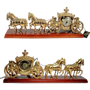 "United 4 Horse and Carriage Coach Clock Gold Tone Metal on 21"" Wood Base Does ..."