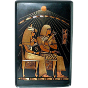 Egyptian Revival Etched Mixed Metal Tray Pharaoh and Queen on Thrones Sun