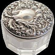 Sterling Silver Repousse Lidded Crystal Dresser Jar Art Nouveau Ex Cond No monogram