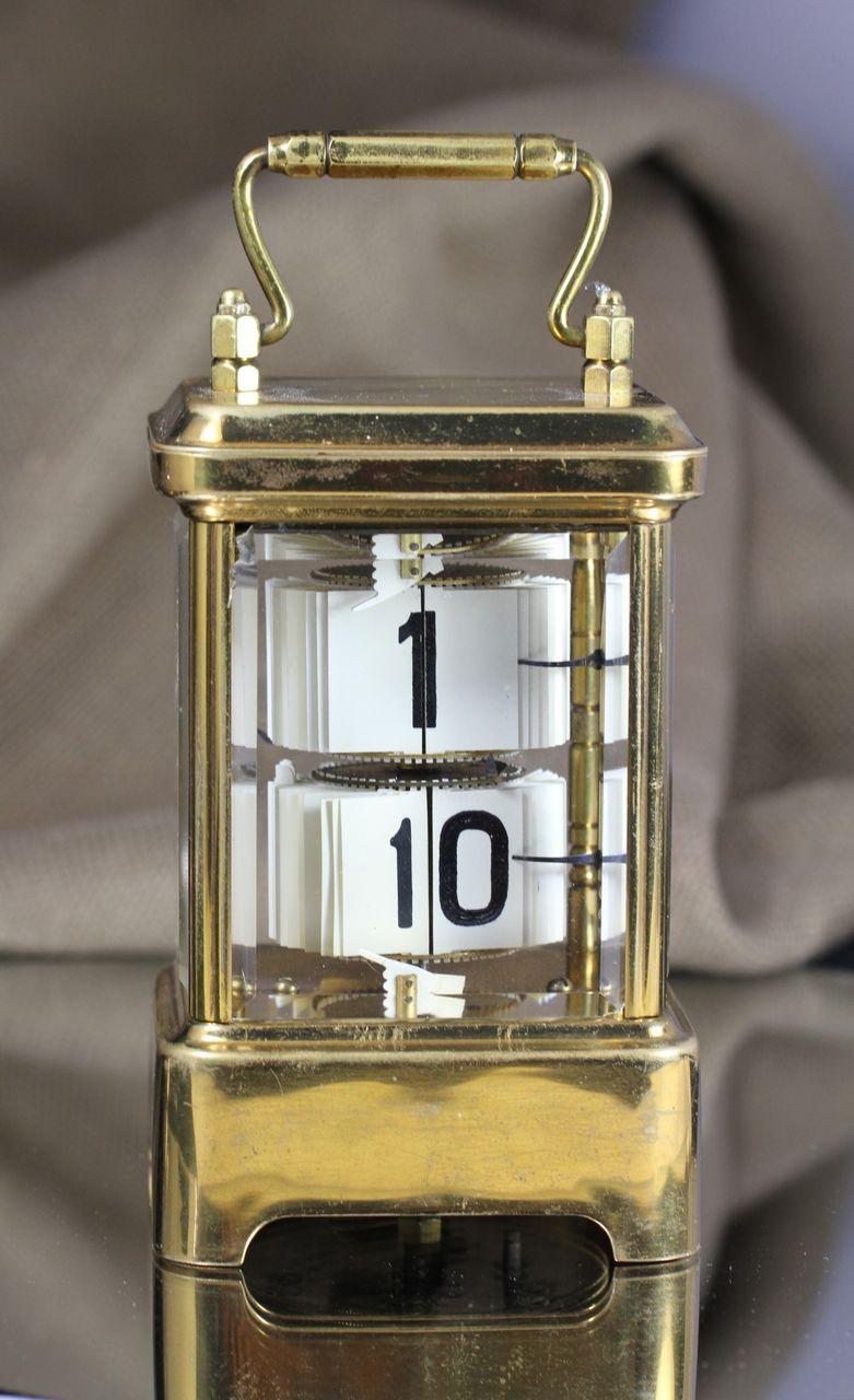 1902 Antique Brass Plato Flip Ticket Desk Clock From
