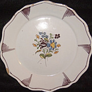 French Faience Plate - Nantes Mark - De-accession