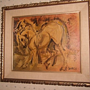 REDUCED OLD Mid 20th Century Oil on Board Painting Moderne - Signed - Horses